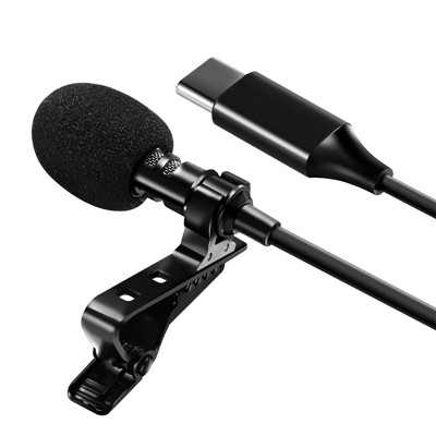 Professional USB-C Lavalier Lapel Microphone Omnidirectional Mic with Metal Clip For Recording Youtube Conference Call Cell phone PC Computer Insten