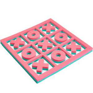 Floatation iQ H2O 3 In A Row Tic Tac Toe Floating Foam Swimming Pool Game Board Mat with 5 X and 4 O Game Pieces, 2x2 Foot Mini, Turquoise/Pink