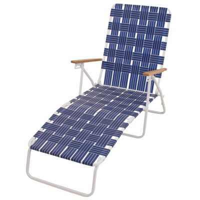RIO Brands Outdoor Heavy Duty Steel Frame Folding Woven Web Chaise Beach Lawn Patio Pool Lounge Chair, Blue