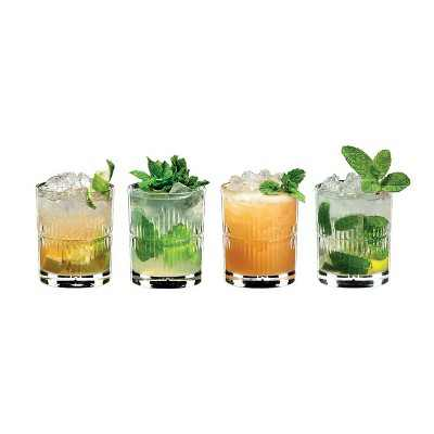 Riedel 11.39-Ounce 4.02-Inch Glass Crystal Bar Tumbler Home Kitchen and Bar Collection Mixing Series Rum Cocktail Set with 4 Glasses