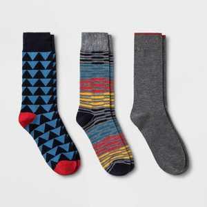 Men's Striped Triangle Gifting Socks 3pk - Goodfellow & Co™ Blue 7-12