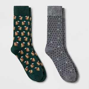 Men's Dotted Polka Dots Novelty Socks 2pk - Goodfellow & Co™ Green/Gray 7-12