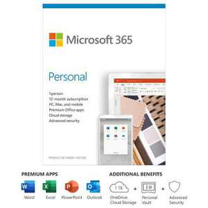 Microsoft 365 Personal 1 Year Subscription For 1 User - For Windows, macOS, iOS, and Android devices - PC/Mac Keycard - 1TB OneDrive cloud storage