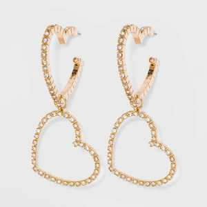 SUGARFIX by BaubleBar Link Heart Earrings - Gold