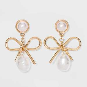 SUGARFIX by BaubleBar Gold Bow Drop Earrings with Pearl - Gold