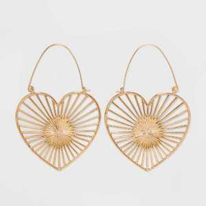 SUGARFIX by BaubleBar Heart Statement Earrings - Gold