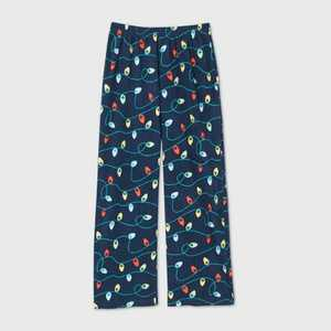 Kids' Holiday Lights Fleece Matching Family Pajama Pants - Wondershop™ Navy 4