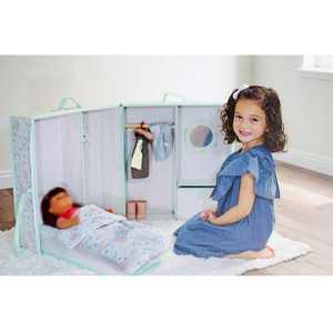Asweets 10126006 Portable Pretend Play Doll Soft Carrier with Bedroom Accessories, Beige