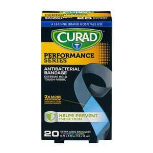 Curad Performance Series Antibacterial Bandages Extra Long 20ct
