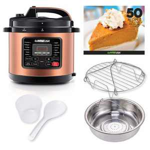 GoWISE USA 8-Quart 12-in-1 Electric Pressure Cooker, Ceramic Pot, Rack, Basket, Measuring Cup, Spoon, and 50-Recipe Book, Copper