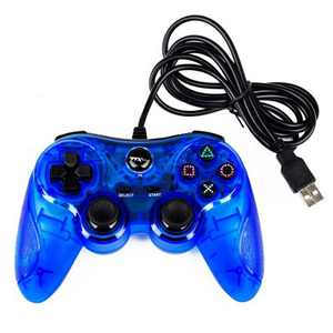 TTX Tech Analog Wired USB Controller Compatible with PlayStation 3/PC, Clear Blue