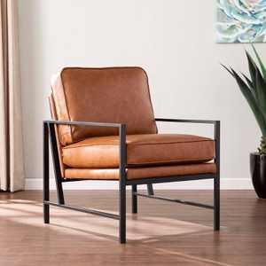 Winche Faux Leather Upholstered Accent Chair Black/Brown - Aiden Lane