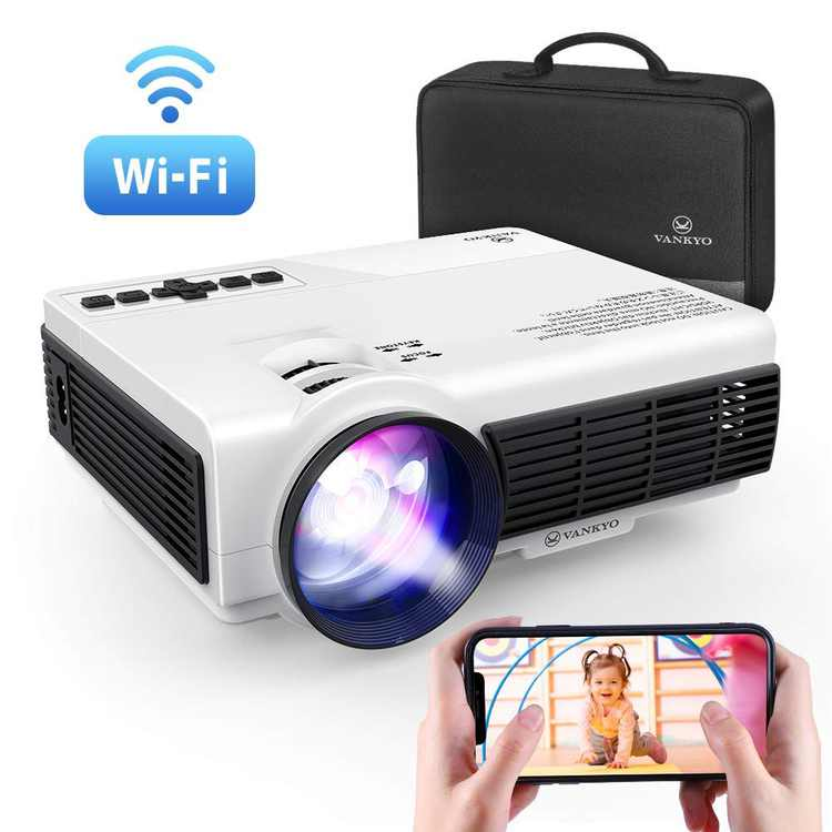 VANKYO Leisure 3W Mini Projector with Synchronize Smartphone Screen, Portable Wi-Fi Projector Supports 1080P for iOS/Android Devices, Compatible with TV Stick, PS4, HDMI for Home & Outdoor