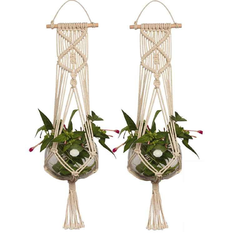 2-pack Macrame Plant Hanger Indoor Outdoor Hanging Planter Basket Jute Cotton Rope Braided Craft 37 inch