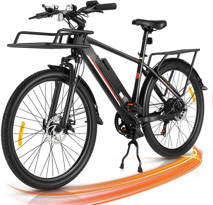 Generic 26 In. 350W Electric Mountain Bike Commuter Bicycle for Adults, City E-Bike with 36V/10.4AH Lithium Battery, Premium Front Suspension and 7 Speed Gears, Dual Disc Brake