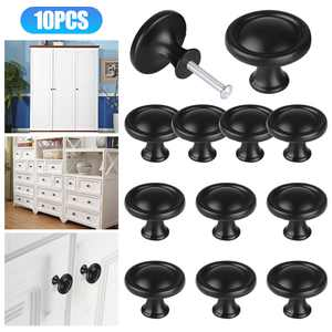 10Pcs Cabinet Knobs, TSV Kitchen Round Mushroom Drawer Handles, Cabinet Hardware Round Knobs with Screws, Elegant Black Finish, for Bathroom Cabinets Dresser Home Decor (1.22in Diameter, Black)