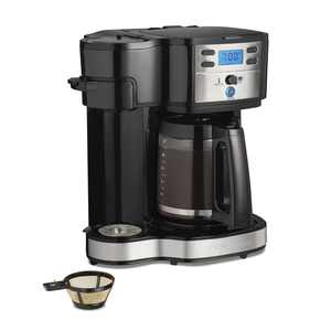 Hamilton Beach 2-Way Programmable Coffee Maker, Single-Serve and 12-Cup Pot, Stainless Steel, Glass Carafe, 47650