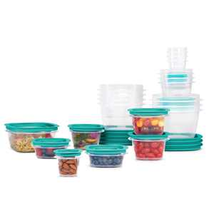 Rubbermaid, Press & Lock Easy Find Lids, Food Storage Containers, Teal, 42-Piece Set