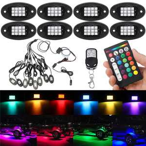8PCS Waterproof 24W DC12V RGB LED Rock Lights RF Double Remote Controls Wireless Music Driving Lighting For Offroad Car Truck JEEP ATV 4WD 96LED Multi-color Atmosphere Lamp IP68