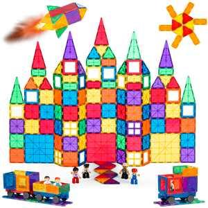 Best Choice Products 250-Piece Kids Magnetic Tiles Set Construction Building Blocks Educational STEM Toy