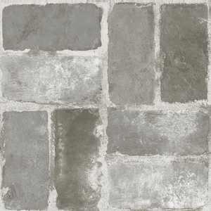 FloorPops! Virgin Vinyl Grey FP3294 Harvard Brick Grey Peel & Stick Floor Tiles Flooring Materials