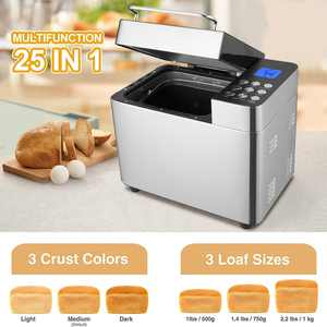 25-in-1 Bread Machine, 2LB Stainless Steel Programmable Bread Maker Machine, Breadmaker with 3 Loaf Sizes 3 Crust Colors 1 Hour Keep Warm Portable