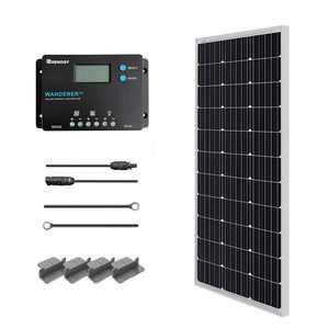 Renogy 100W 12V Monocrystalline Solar Starter Kit w/Wanderer 10A Charger Controller