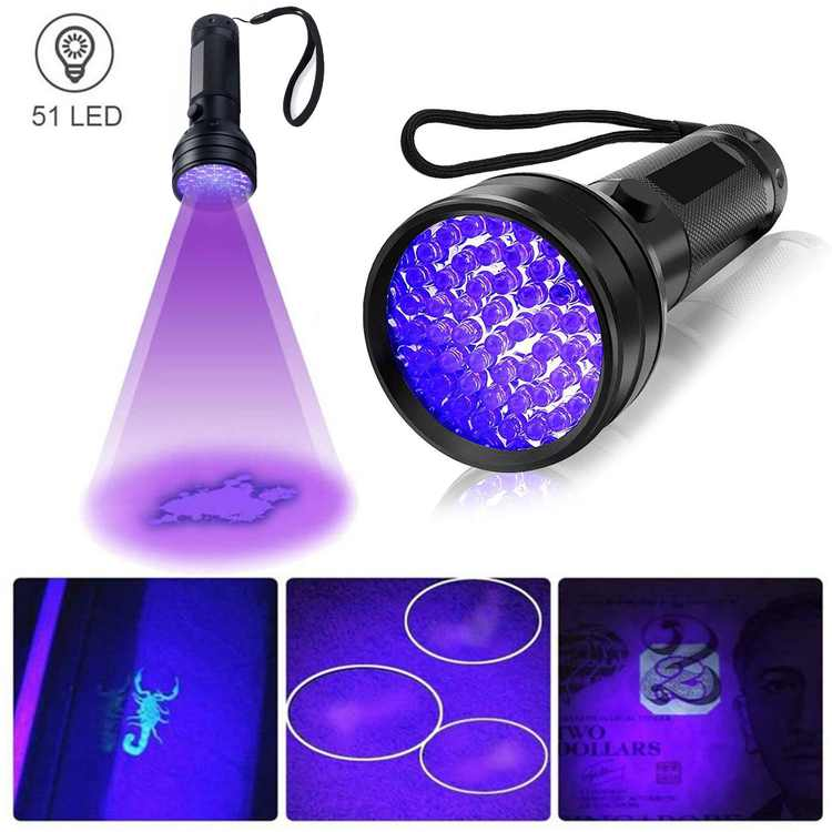 UV Flashlight Black Light, 51 LED 395nm Ultraviolet Blacklight, Handheld UV Flashlight, Pet Urine Stain Detector, Ultraviolet Flashlight Detector for Dry Stains and Bed Bug, Inspection Torch Light