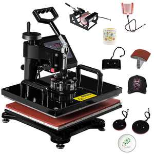 Costway 6 in 1 Heat Press Machine Digital Transfer Sublimation T-Shirt Mug Hat Plate Cap