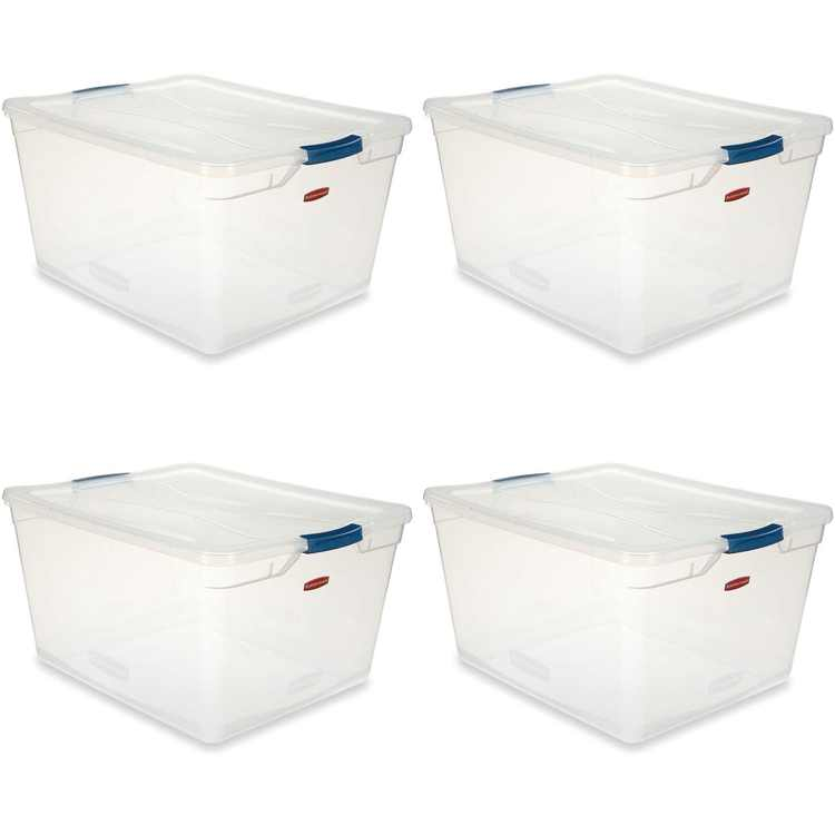 Rubbermaid Cleverstore 71 Qt Latching Plastic Storage Container & Lid (4 Pack)