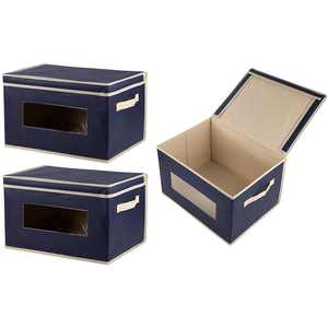3-Pack Storage Bins - Collapsible Fabric Storage Cubes Boxes Organizer Closet Shelf Baskets with Lids & Window for Clothes, Toys, Nursery - 16.25x12x10, Navy Blue