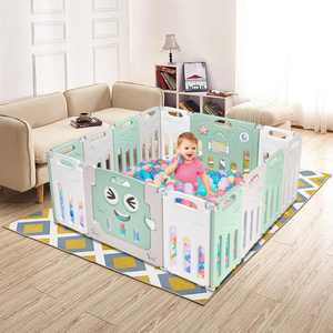 Zimtown HDPE 14 Panels Foldable Baby Playpen BPA-Free Play Yards Kid Activity Center Without balls