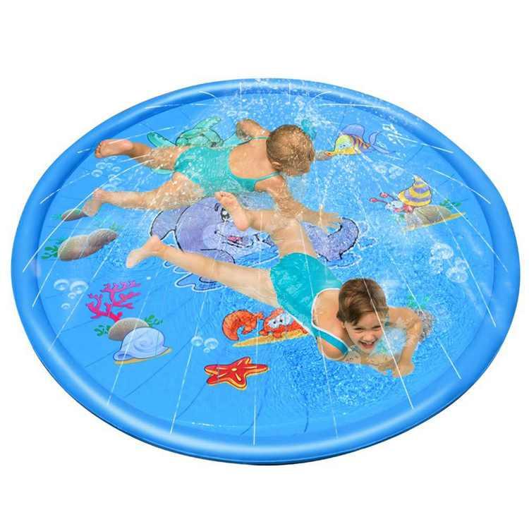 Children Playing Toy Mat Inflatable Outdoor Sprinkler Splash Pad Summer Pool Toy for Garden Park (Blue)