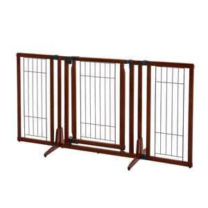 "Richell Freestanding Dog Gate, Cherry Brown, 63""L x 26""W x 32""H"