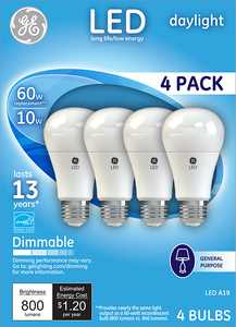 GE LED 10W (60W Equivalent) Daylight General Purpose, A19 Medium Base, Dimmable, 4pk Light Bulbs