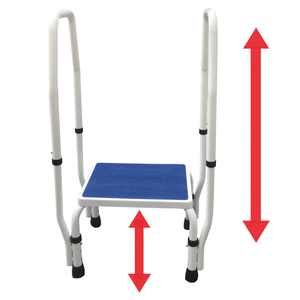 Platinum Health AdjustaStep(tm) DoubleSafe Deluxe Step Stool/Footstool with Dual Handle/Handrail, Height Adjustable. Modern white/blue design. New for 2016
