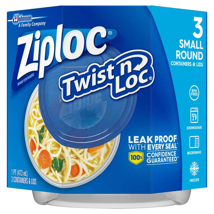 Ziploc 3 Count Small Round Twist 'N Loc Container, 5.3 oz. Each, Leakproof Seal Plastic Storage Container