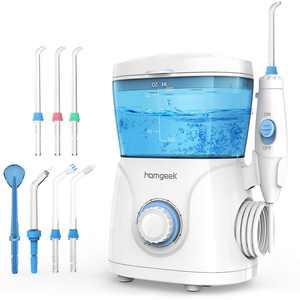 Homgeek 600ml Water Flosser Oral Irrigator Dental Water Pick Teeth Cleaner 10 Pressure with 7 Jet Tips White