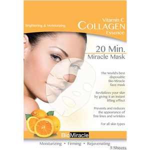 BioMiracle Vitamin C Collagen Essence Face Masks, 5 count