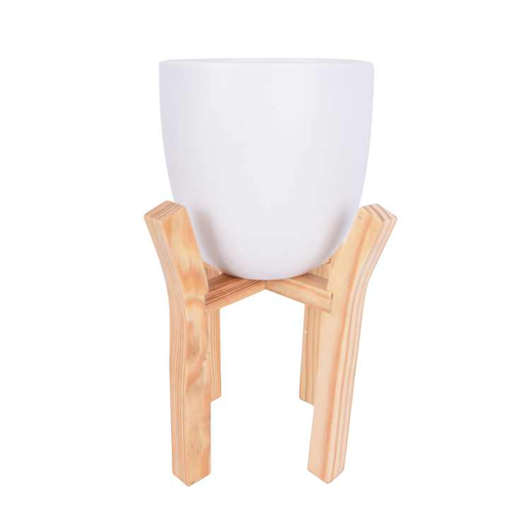 Mainstays White Ceramic Planter with Wood Stand, Set of 2