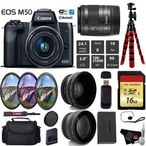Canon EOS M50 Mirrorless Digital Camera with 15-45mm Lens + UV FLD CPL Filter Kit + Wide Angle & Telephoto Lens + Camera