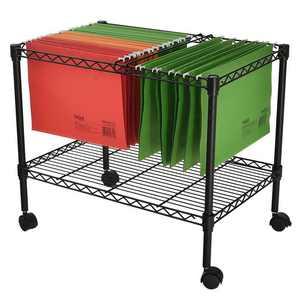 "Ktaxon Single Tier Metal Rolling Mobile File Cart 23.6 x 12.6 x 18"" Office Supplies"