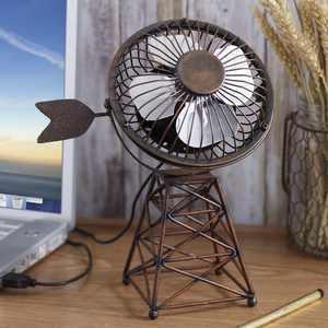 Windmill Themed USB Desktop Fan - Rustic Farmhouse Appeal Desk Accessory