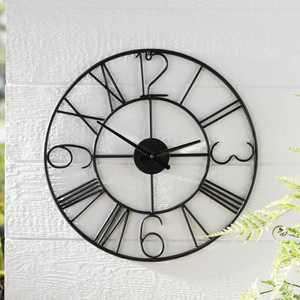 Better Homes and Gardens Black Metal Outdoor Decorative Hanging Clock Wall Art Decor, 22Lx1.4Wx22H Inches