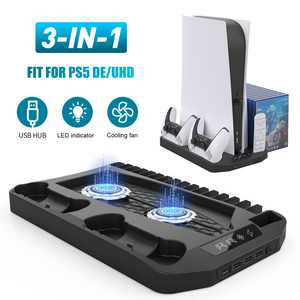 PS5 Vertical Stand Cooling Fan System Dual Controller Charging Station Docks with LED Indicator and 3 Port USB Hub for SONY  PlayStation 5 Digital Edition/Ultra HD Cooler 16 Game Slots