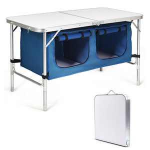 Gymax Folding Camping Table Aluminum Height Adjustable w/ Storage Organizer Dark Blue