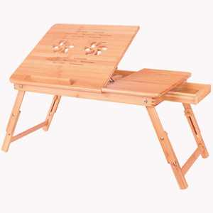 Costway Portable Bamboo Laptop Desk Table Folding Breakfast Bed Serving Tray w/ Drawer