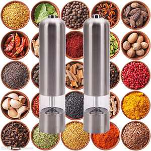 Ktaxon 2pcs Stainless Steel Electric Automatic Pepper Mill Salt Grinder Cooking Tools