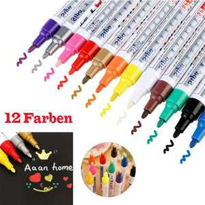 12pcs Waterproof Paint Pens Marker Car Tyres Cars Metal Wood