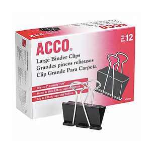 "ACCO Large Binder Clips, Steel Wire, 1 1/16"" Cap, 2""w, Black/Silver, Dozen"